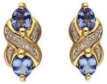 Ivy Gems Donna  9cts (375)  Oro giallo Ovale   blu  FINEEARRING