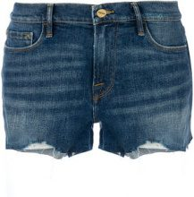 - Frame Denim - Shorts denim con dettaglio cut - women - Polyester/Cotone/Spandex/Elastane - 26, 27, 29 - Blu