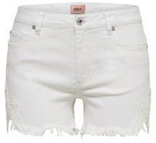 ONLY Carmen Reg Lace Denim Shorts Women White