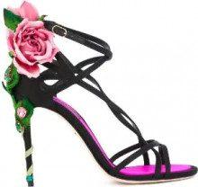 Dolce & Gabbana - Sandali 'Keira' - women - Satin/glass/metal/Leather - 36, 37, 37.5, 38.5 - BLACK