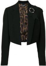 Dolce & Gabbana - Giacca crop con coccarda - women - Virgin Wool/Spandex/Elastane/Polyester - 40, 42 - BLACK