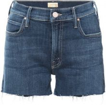 Mother - distressed denim shorts - women - Cotton/Polyester/Spandex/Elastane - 24, 25, 26, 27, 28, 29, 30, 31, 32 - BLUE