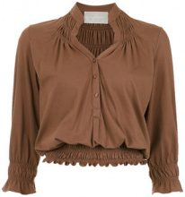 Lilly Sarti - ruched Lastex blouse - women - Cotton - 40 - BROWN