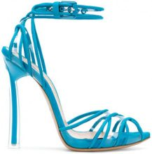 Casadei - peep toe sandals - women - Vinyl/Leather/Chamois Leather - 35, 35.5, 36, 36.5, 37, 37.5, 38, 39, 39.5, 40, 41 - BLUE