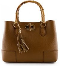 Borsette Dream Leather Bags Made In Italy  Borsa Per Donna A Mano Con Manici In Legno Lucidato E Nappa In P