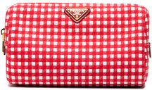 Prada - Pouch a quadretti - women - Cotton - OS - RED