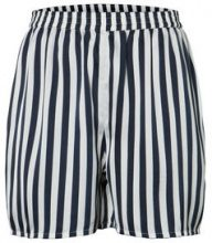 PIECES Striped Satin Shorts Women Blue
