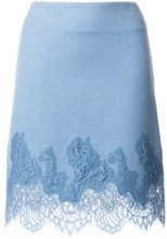 Ermanno Scervino - Gonna con ricami in pizzo - women - Wool/Cashmere/Silk/Polyamide - 40, 38, 42, 44 - BLUE
