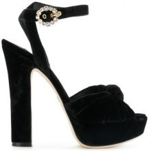 Dolce & Gabbana - platform sandals - women - Velvet/Leather - 37, 37.5, 38, 38.5, 39, 39.5, 40, 35, 36.5, 36 - BLACK