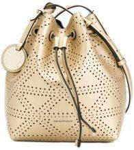 Emporio Armani - embossed style satchel bag - women - Polyester/Polyurethane - OS - METALLIC