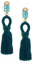 Oscar de la Renta - Orecchini pendenti con nappina - women - Silk/Brass/glass - One Size - BLUE