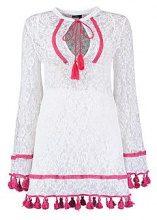 Petite Lace Pom Pom Tassel Beach Dress