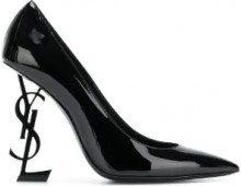 Saint Laurent - Pumps Opyum 110 - women - Calf Leather/Leather/Patent Leather - 35, 35.5, 36, 36.5, 37.5, 38, 37, 38.5, 39, 40, 41 - BLACK
