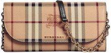 Burberry - Portafoglio con tracolla 'Haymarket' - women - PVC/Cotone/Calf Leather/Polyamide - OS - NUDE & NEUTRALS