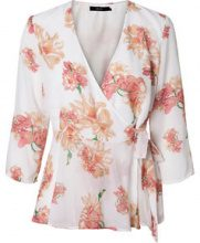 VERO MODA Flowered Wrap 3/4 Sleeved Top Women White