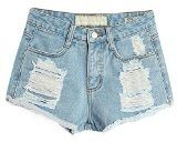 Baymate Donna Vintage Vita Alta Jeans Strappato Shorts Denim Pantaloncini Corti