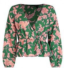 Petite Montana Blusa a portafoglio con motivi floreali audaci