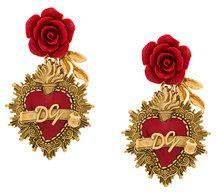 Dolce & Gabbana - Orecchini con motivo Sacro Cuore - women - Resin/Brass/Enamel - One Size - METALLIC