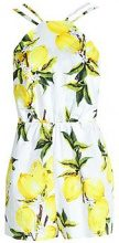Megan High Neck Strappy Lemon Print Playsuit