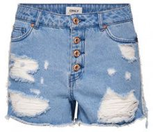 ONLY High Waist Raw Denim Shorts Women Blue