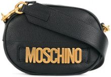 Moschino - logo plaque shoulder bag - women - Leather - One Size - BLACK