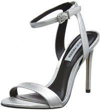 Steve Madden Landen High Heel, Sandali con Cinturino Alla Caviglia Donna, Silver (Silver), 36 EU