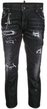 Dsquared2 - Slouch Cropped jeans - women - Cotton/Spandex/Elastane/Polyester/Calf Leather - 38, 40, 42, 44, 46 - BLACK