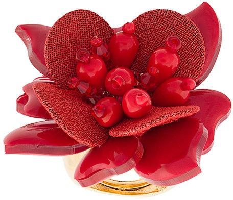 897203e049 Oscar de la Renta - Anello con fiore - women - fibra sintetica/glass ...