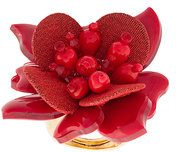 Oscar de la Renta - Anello con fiore - women - Polyamide/plastic/metal/glass - OS - RED
