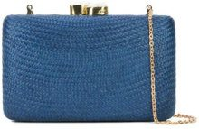 Kayu - chain strap woven clutch bag - women - Straw - OS - Blu