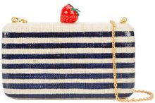 Kayu - striped strawberry clutch bag - women - Straw - OS - BLUE