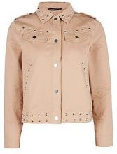 Petite Megan Embroidered Studded Trucker Jacket