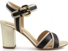Sandali Leonardo Shoes  Sandalo con tacco in pelle /beige ed oro