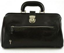 Borsette Dream Leather Bags Made In Italy  Borsa Per Medico In Pelle Vera Con Tasca Frontale Colore Nero -