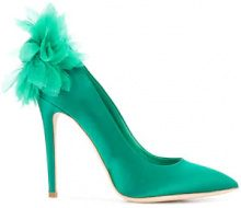 Olgana - Pumps 'Chrysantheme' - women - Calf Leather/Leather/Satin - 35, 38, 39, 41 - GREEN