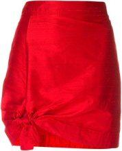 Giorgio Armani Vintage - tie detail mini skirt - women - Silk/Polyester - 42 - RED