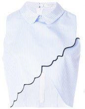 Vivetta - Camicia crop a righe - women - Cotton - 42, 40 - BLUE