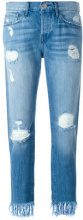 3X1 - Jeans crop con orlo sfrangiato - women - Cotton - 25, 26, 27, 28, 29, 30 - BLUE