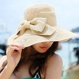 LA HAUTE pieghevole con fiocco, da donna, paglia Cappello a tesa larga Beach-Cappello con visiera