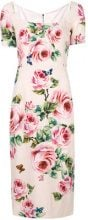 Dolce & Gabbana - rose print midi dress - women - Silk/Spandex/Elastane/Viscose - 44, 46 - PINK & PURPLE