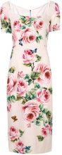 Dolce & Gabbana - rose print midi dress - women - Silk/Spandex/Elastane/Viscose - 46, 44 - PINK & PURPLE
