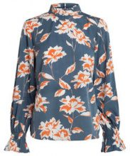 PIECES Printed Long Sleeved Blouse Women Blue