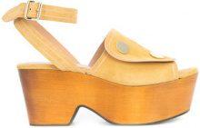 Derek Lam - Zaria Button Suede Platform Sandal - women - Suede - 37, 38, 39, 36, 36.5, 37.5, 38.5, 39.5, 40, 41 - BROWN