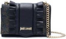 Just Cavalli - glitter detail shoulder bag - women - Goat Skin - One Size - BLACK