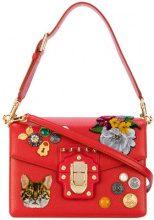 Dolce & Gabbana - Lucia Zambia cat shoulder bag - women - Calf Leather/Brass/Velvet/glass - OS - RED