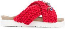 Inuiki - Sandali con fasce intrecciate - women - Leather/Cotton/rubber - 37, 38, 39, 41, 36 - RED