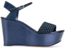 Casadei - woven platform sandals - women - Chamois Leather/Leather/Satin - 35, 35.5, 36, 36.5, 37, 37.5, 38, 39, 39.5, 40, 41 - BLUE