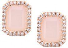 Naava Orecchini da Donna in Oro Rosa 9K con Opale Rosa e Diamante, Taglio Smeraldo