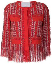 20:52 - slim-fit fringed jacket - women - Cotton/Acrylic/Polyamide - 42 - RED