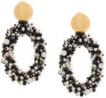 Carolina Herrera - Orecchini a cerchio con perline - women - Glass Fiber - OS - BLACK